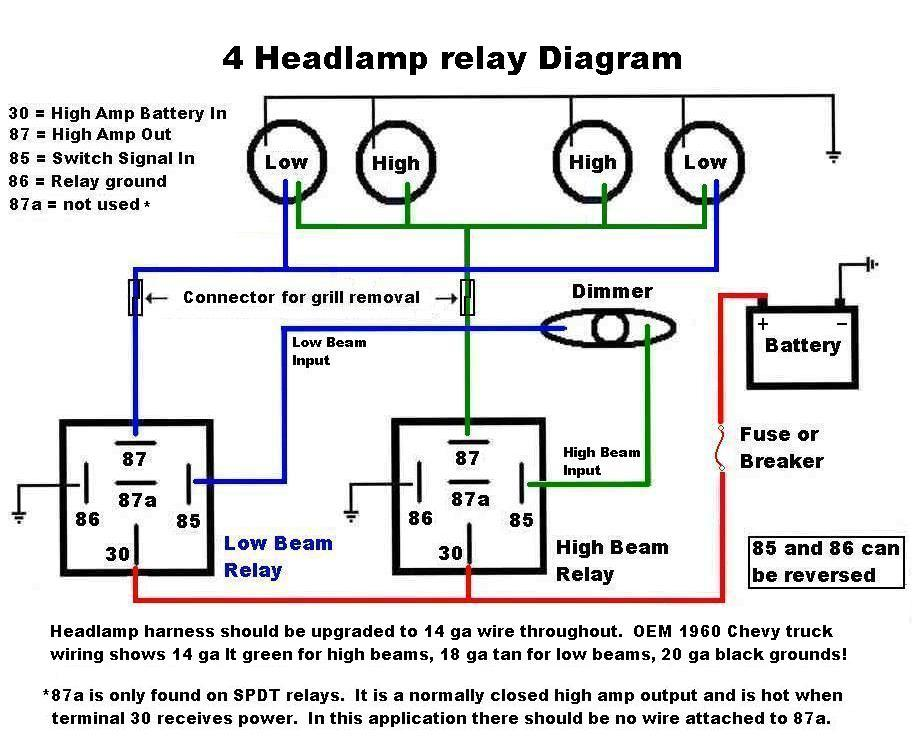 HeadLampRelayDiagram headlight improvements '60 66 chevy gmc trucks 4 headlight wiring diagram at bakdesigns.co